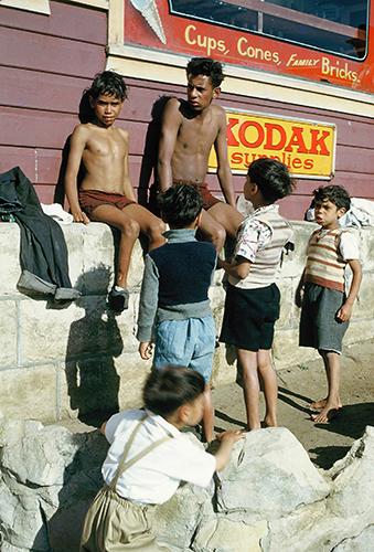 Boys outside store